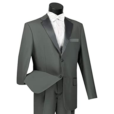 7c58d6b61a8 Lucci Men's 2 Button Classic-Fit Formal Polyester Tuxedo Suit w/Sateen  Lapel &