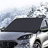 iCOVER Car Windshield Snow Cover for Ice and Snow, Winter Frost Guard Protector with Side Mirror Covers, Fits Universal SUVs Trucks Vans, Heavy Duty Canvas, Large Size