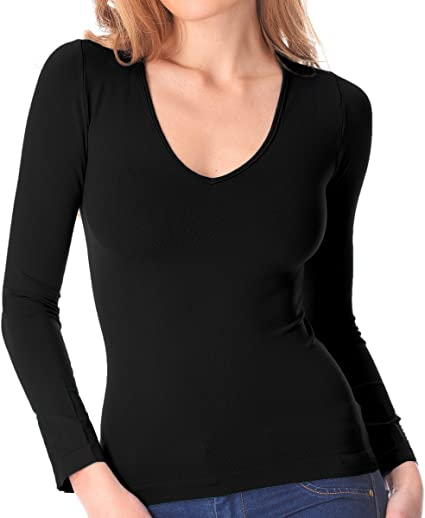 VKA25 Camiseta térmica para mujer interior de felpa cuello en forma V slim fit - Negro, XL-XXL: Amazon.es: Ropa y accesorios