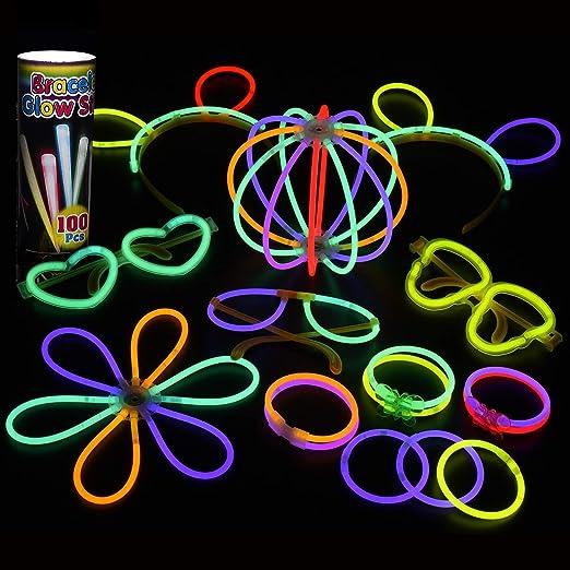 Mpow 100 PCS Varitas Luminosas para Fiestas, 20cm Pluseras Fluorescentes con 7 Colores, Palos Luminosos para Crear Gafas, Pulseras, Collares, Pulseras Triples, Diadema, Flores y Bolas,etc: Amazon.es: Iluminación