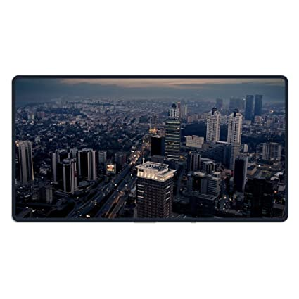 MPLCHET Printing City Night Top View Skyscrapers Metropolis Mouse Pad Computer Large Mat 1574in