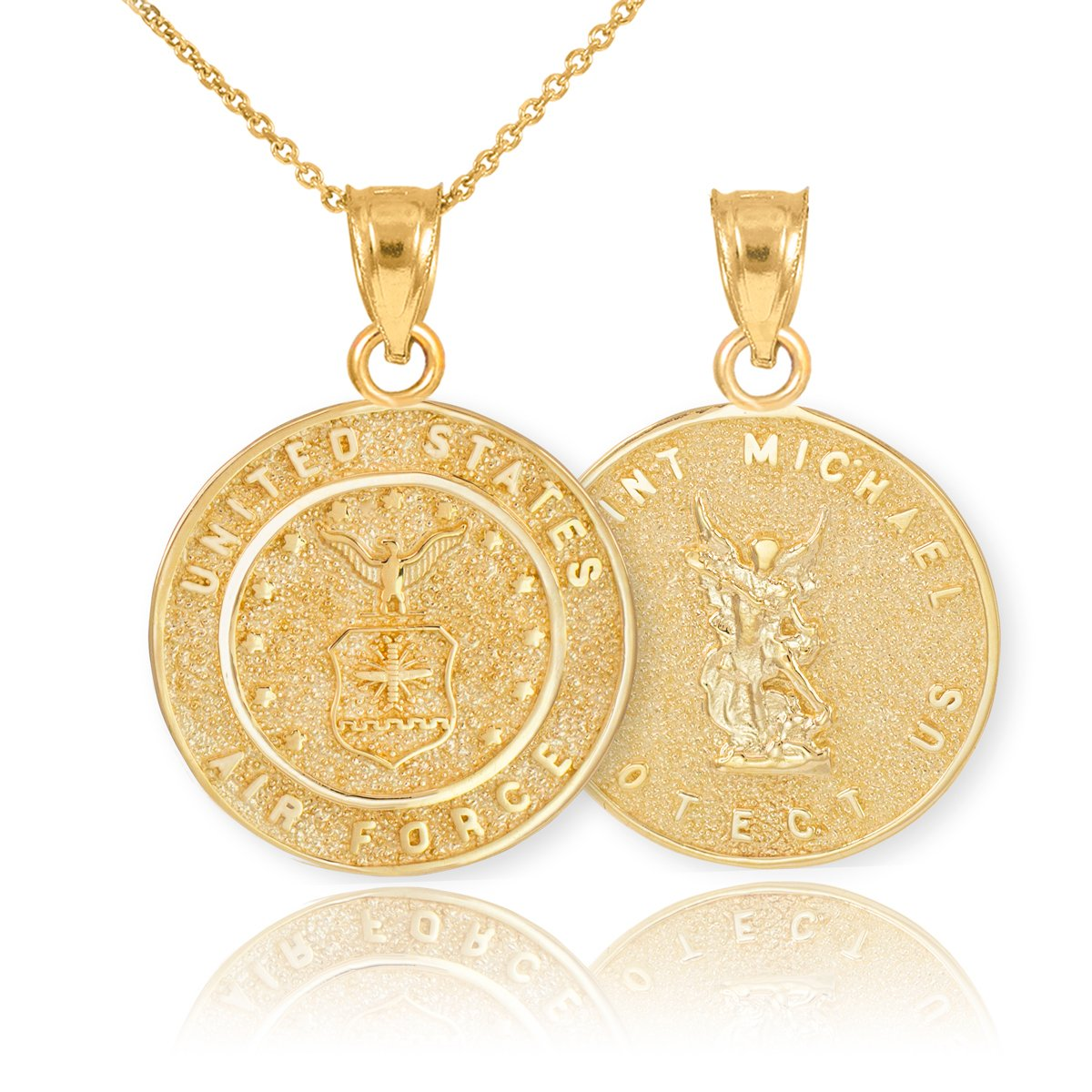 Fine 14k Yellow Gold St Michael Medal Protection Charm US Air Force Reversible Pendant Necklace, 18''
