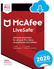 McAfee LiveSafe 2020 | Unlimited Devices | 1 Year | PC/Mac/Android/Smartphones | Download Code