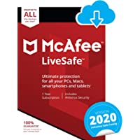 McAfee LiveSafe 2020 | 10 Devices | 1 Year | PC/Mac/Android/Smartphones | Download Code