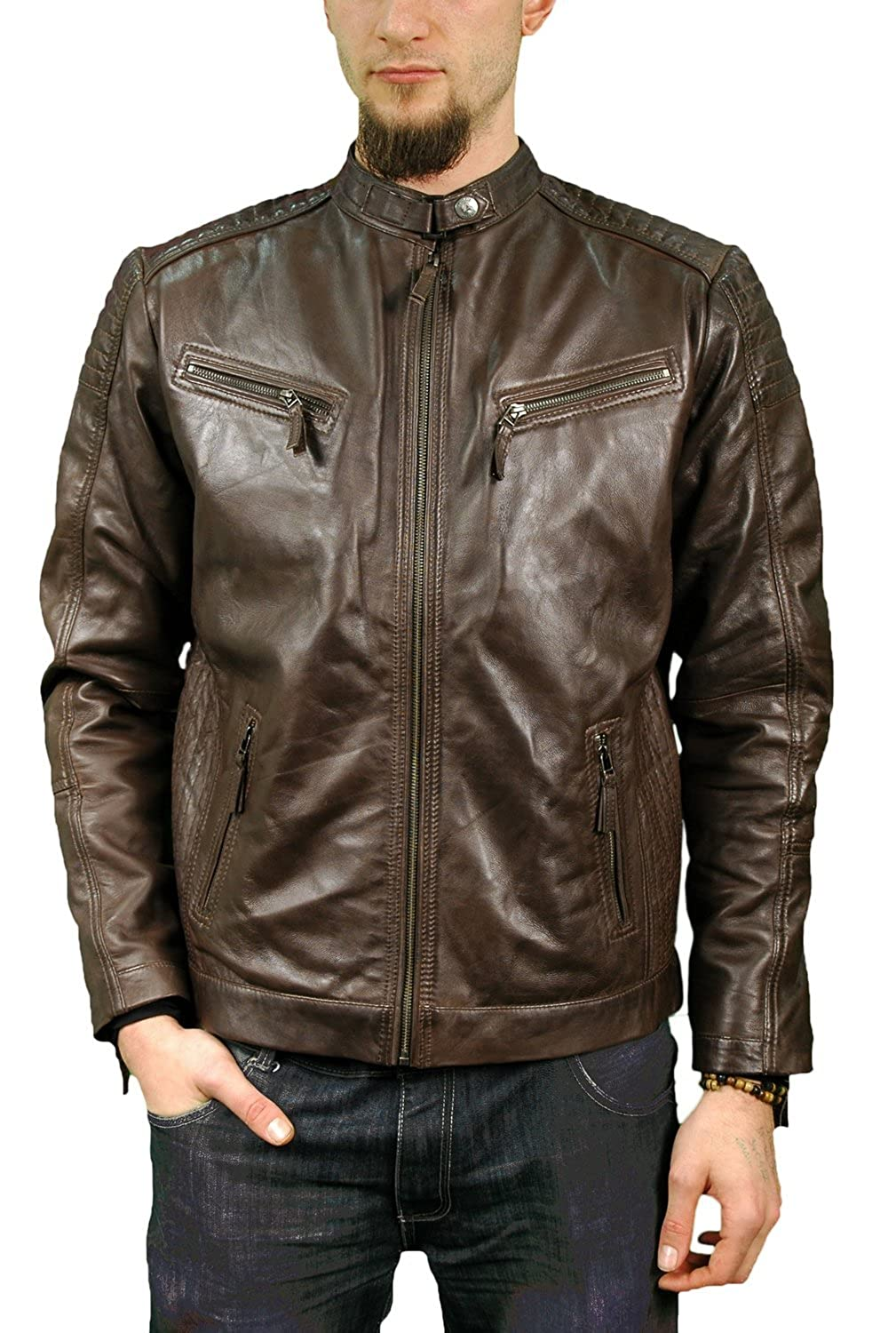 Mens Fitted Retro Style Zipped Dark Brown Leather Biker Jacket