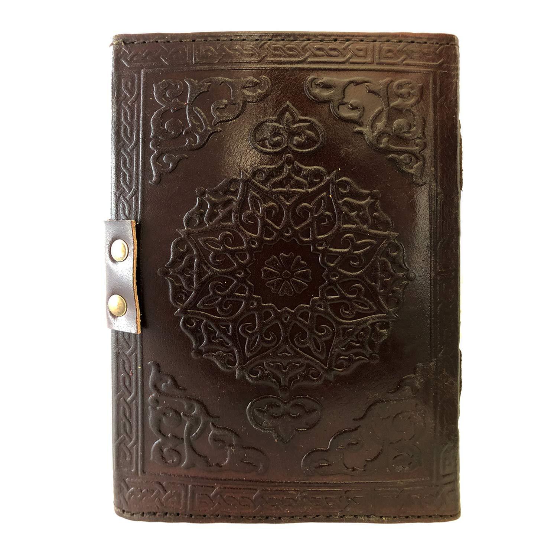 Natural Handicraft Handmade Leather Journal Notebook Dreamcatcher Third Eye Stone Embossed Organizer Daily Planner Office Handbook College Diary Sketchbook 5 x 7 inches