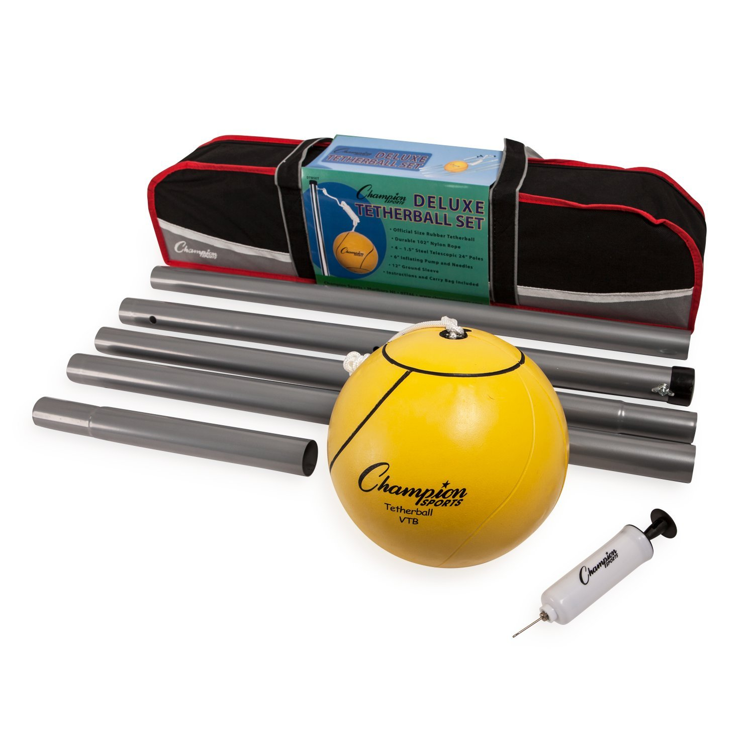 Champion Sports Portable Tetherball Set: Classic Backyard Lawn Beach and Pool Party Game Includes Soft Ball Nylon Rope & Durable Telescopic Pole With Free Air Pump