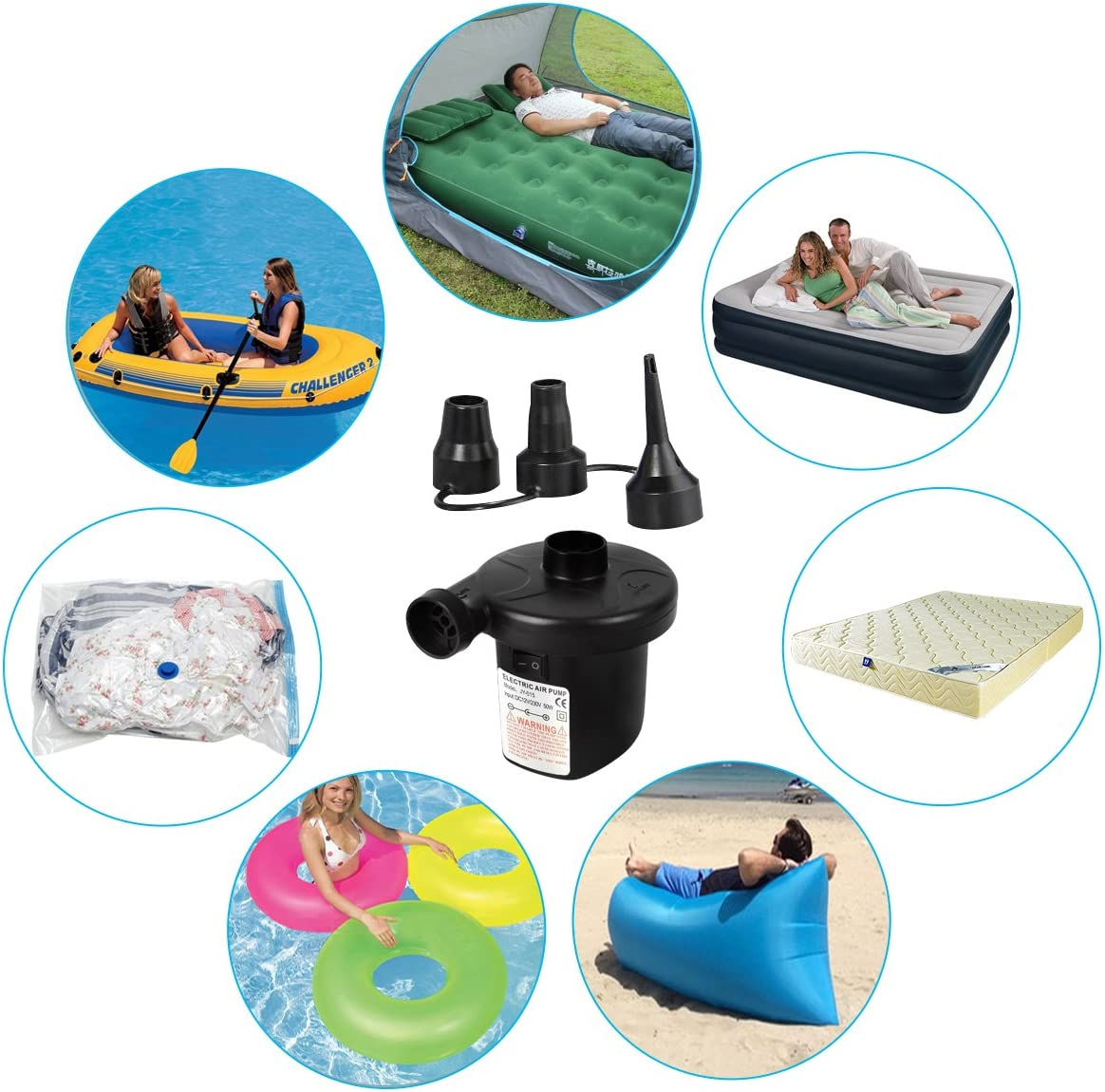 Omont Electric Quick-Fill Air Pump 110V AC/12V DC Portable Inflator Air Mattress Pump for Inflatable Air Bed Lake Floats Rafts Pool Toys: Home Improvement