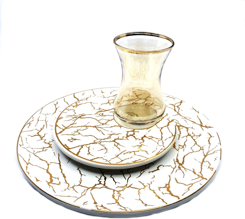 Marbel Teegl/äser Set 24tlg Marmor Tee und Kuchenteller Set Dessertteller