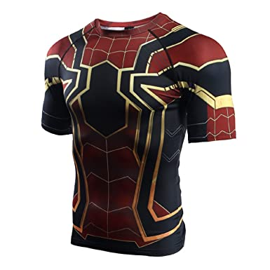 6e280252a0ee4a Infinity War - Part 3 Short Sleeve Spider-Man Compression Shirts at Amazon  Men's Clothing store: