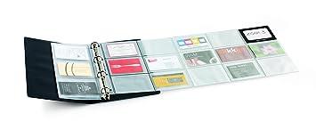 Agipa Porte Carte De Visite Recharge Pliable Perforee En PVC Capacite 30 Cartes Gris