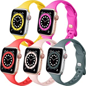Muranne Compatible with Apple Watch Band 40mm 38mm iWatch SE & Series 6 5 4 3 2 1 for Women Men, Stylish Slim Soft Silicone Sport Watch Band (Mango Yellow/Rose Pink/Red/Sand Pink/Pine Green 38mm/40mm)