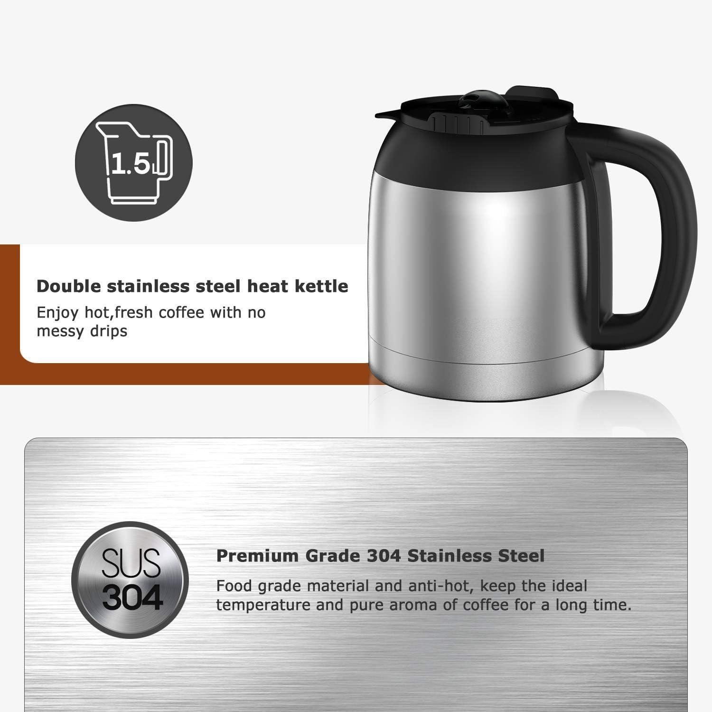 Abnehmbarer Filter 10-12 Tassen 1.5L Programmierbare/Edelstahl Kaffeemaschine mit Anti-Drip-Funktion LED-Anzeige Bonsenkitchen Filterkaffeemaschine mit Thermoskanne und Timer