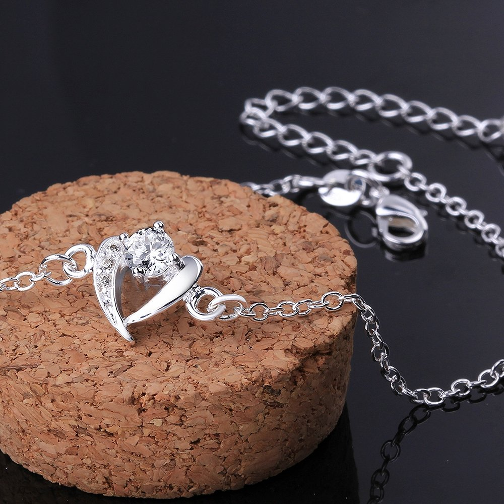 GYAYA Zircon Silver Plated Anklets For Heart Shaped Lucky Clover Flowers (Heart shaped) by GYAYA (Image #4)
