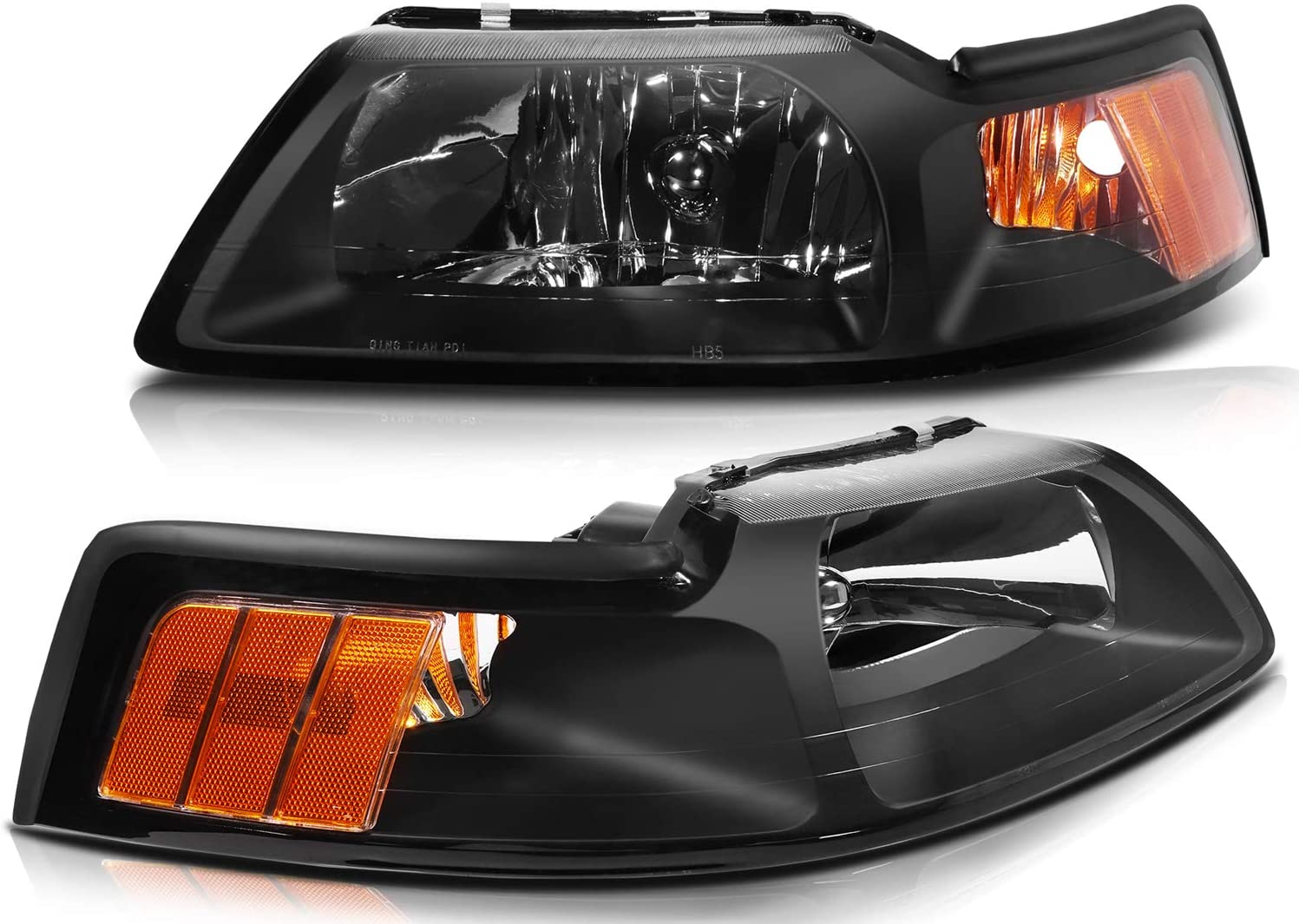 LBRST Headlight Assembly for Ford Mustang 1999-2004 Black Housing Driver and Passenger Side Headlights