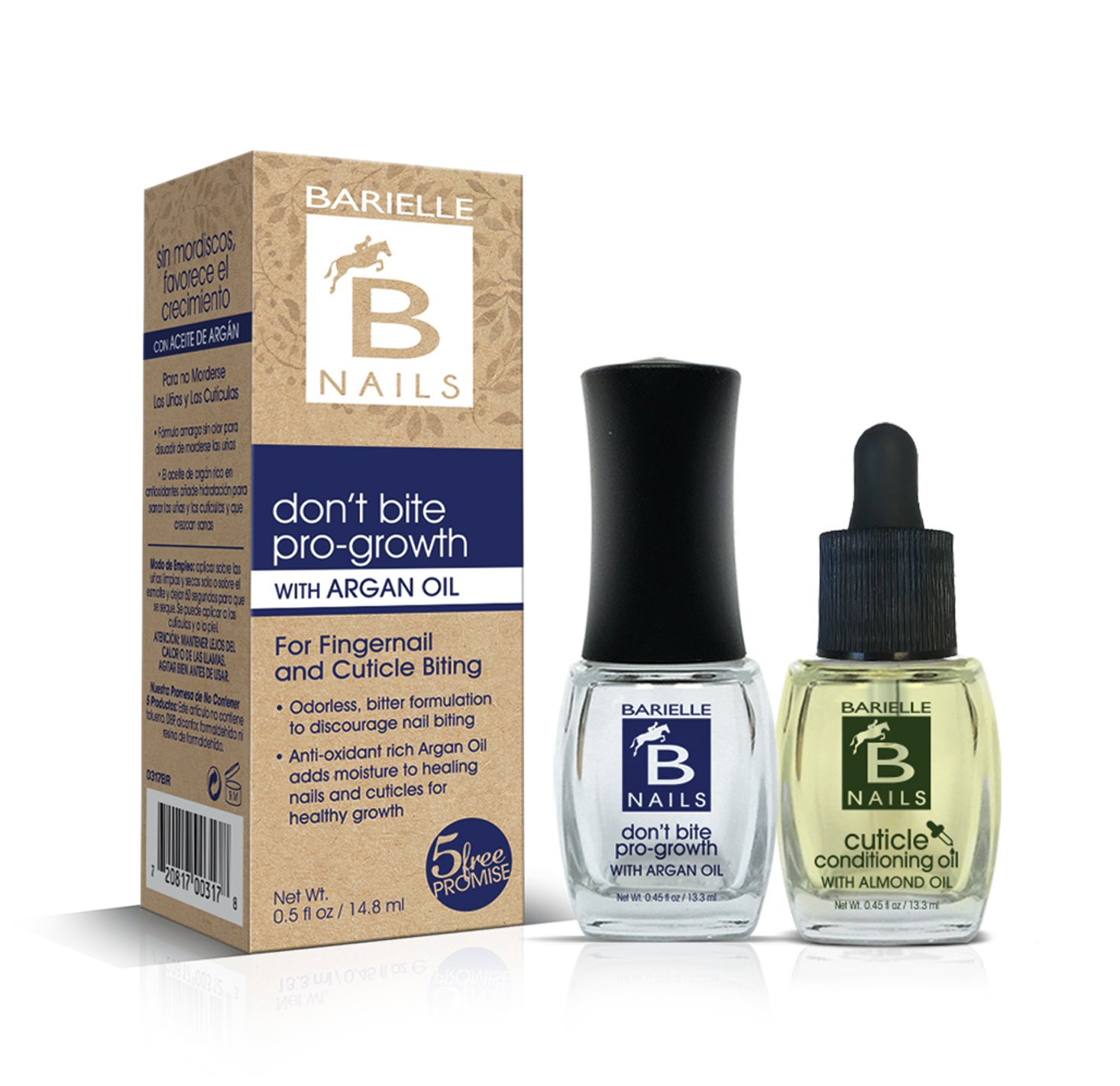 Barielle Stop Nail Biting with Don't Bite Pro-growth with Argan Oil AND Cuticle Conditioning Oil with a Dropper