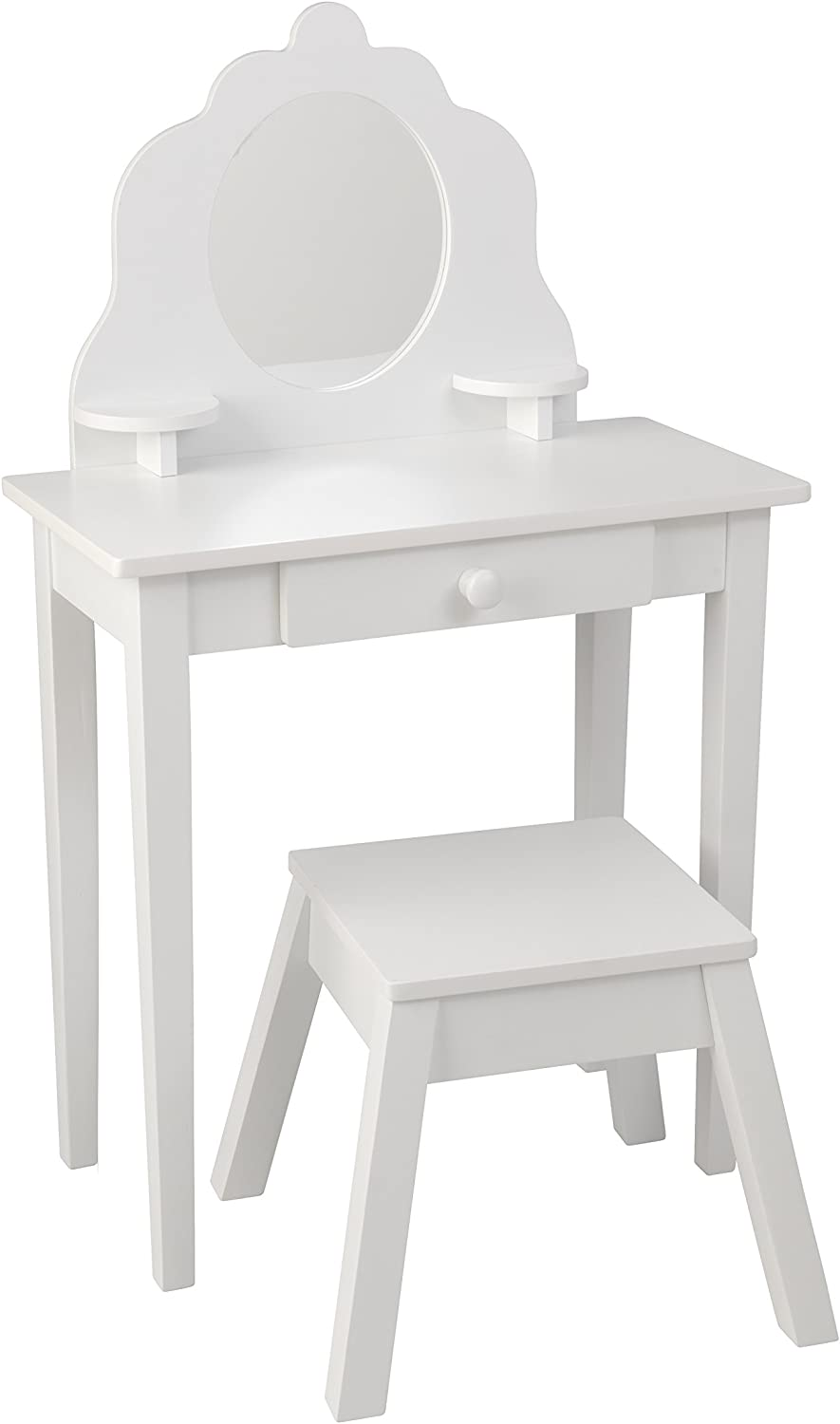 KidKraft Medium Wooden Vanity & Stool - White, Children's Furniture, Kid's Bedroom Storage
