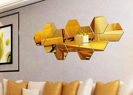 3D Acrylic Mirror Effect Tile Wall Sticker Room Decor Stick Art Bedroom DIY