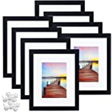 Sindcom 8x10 Picture Frame, Black Wood Textured Photo Frames Collage, Display Photos 5x7 with Mat or 8x10 Without Mat…