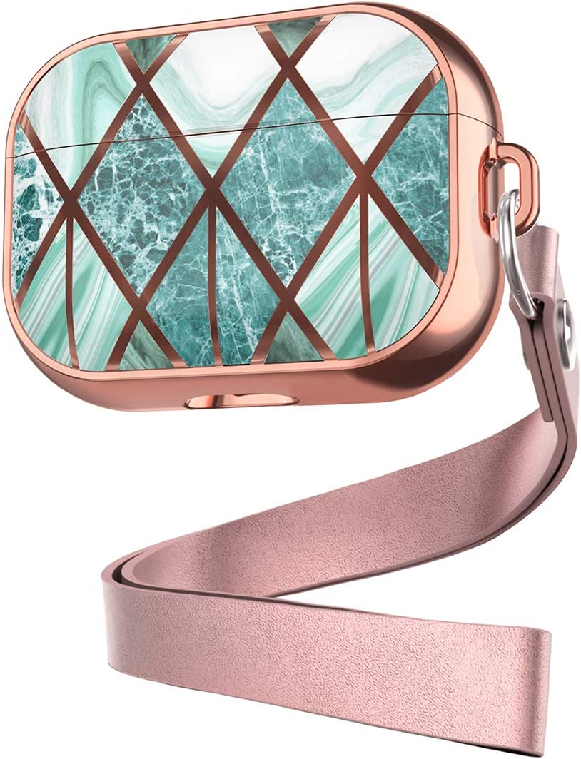 Senyoo Compatible with AirPods Pro Case for Girls, Cute Accessories Protective Stylish AirPods Pro Case Cover Compatiable for Apple AirPods Pro (2019) Rosegold+Green