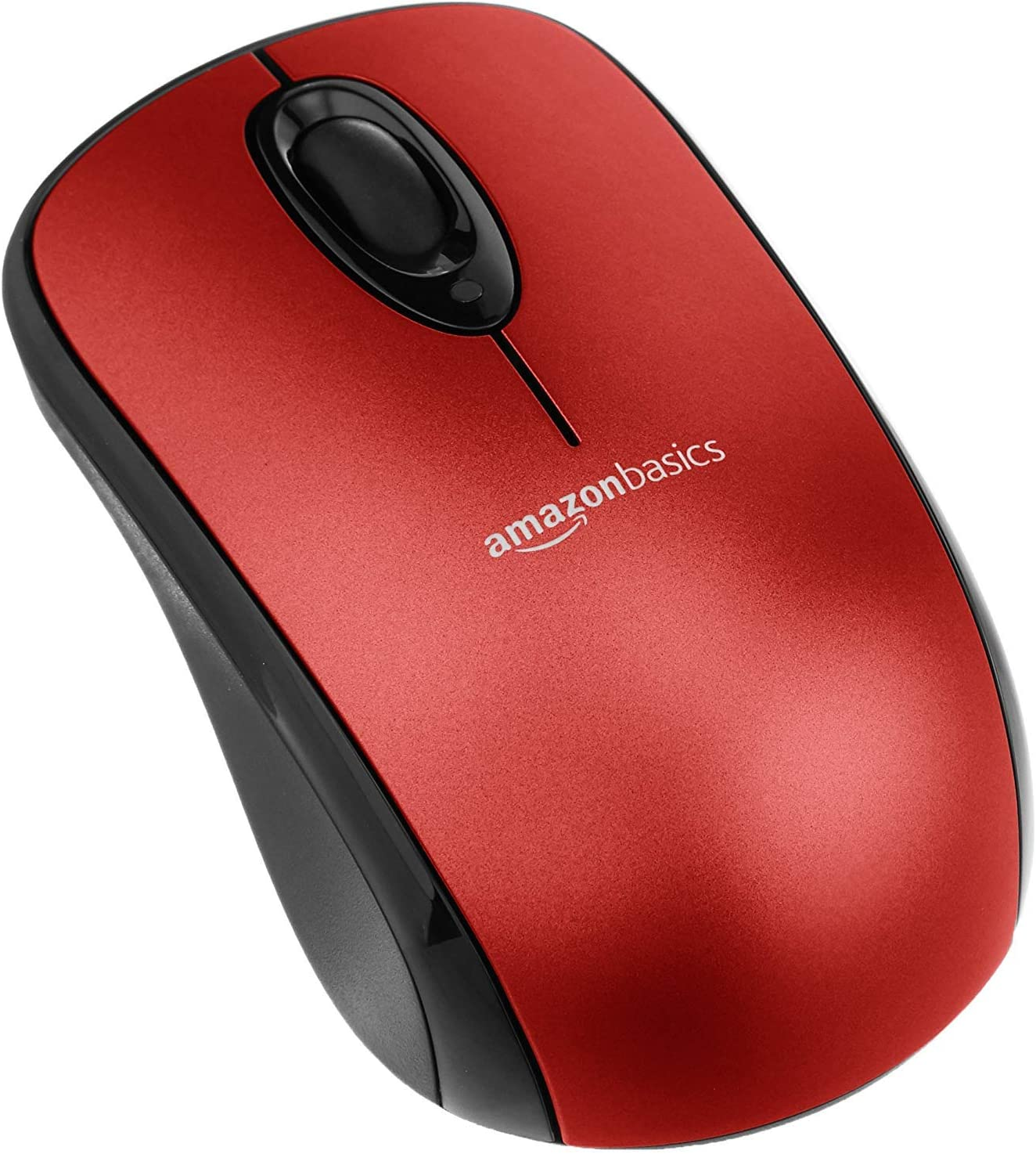 AmazonBasics Wireless Computer Mouse with USB Nano Receiver - Red