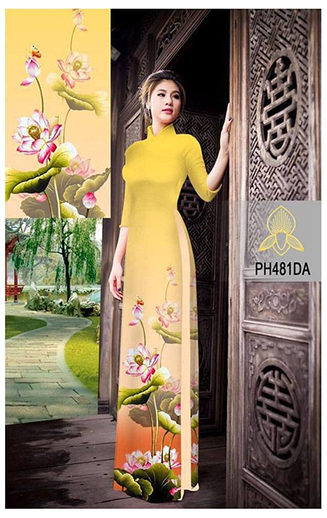 ADVN00530 All Size Ao Dai Traditional Vietnamese Long Dress Collections with Pants Silk 3D
