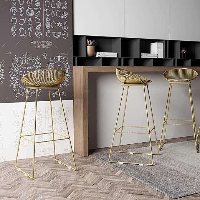 Amazon.com: Zhang Nordic bar Stool bar Chair Wrought Iron Stool Modern Minimalist Casual Metal Chair Gold and Rose Gold 42/62/72cm (Color : A: Gold, ...