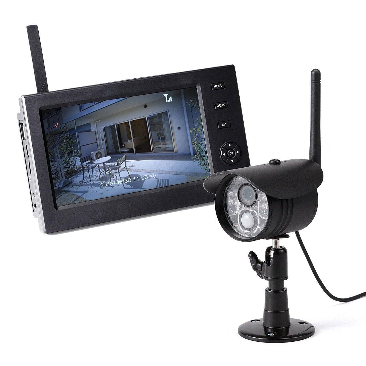 サンワダイレクト 防犯カメラ ワイヤレスモニター付きセット 防水屋外カメラ1台 + ワイヤレスモニター 録画対応 SD/USBメモリー 対応 400-CAM055-1 B01H2RSDSO モニター+屋外カメラ1台 モニター+屋外カメラ1台