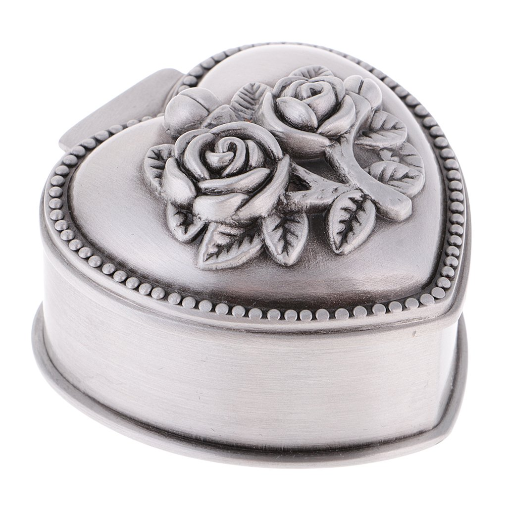 Dovewill Fashion Jewelry Box Vintage Flower Carved Trinkets Case Chest Casket Hexagon/Round/Heart Shape Room Ornaments non-brand