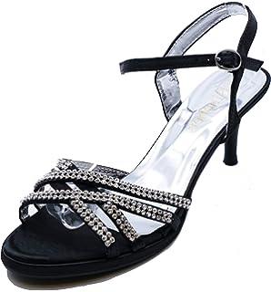 8f21a1145a Ladies Black Bride Wedding Bridal Diamante Sandals Bridesmaid Prom Shoes  Sizes 3-8