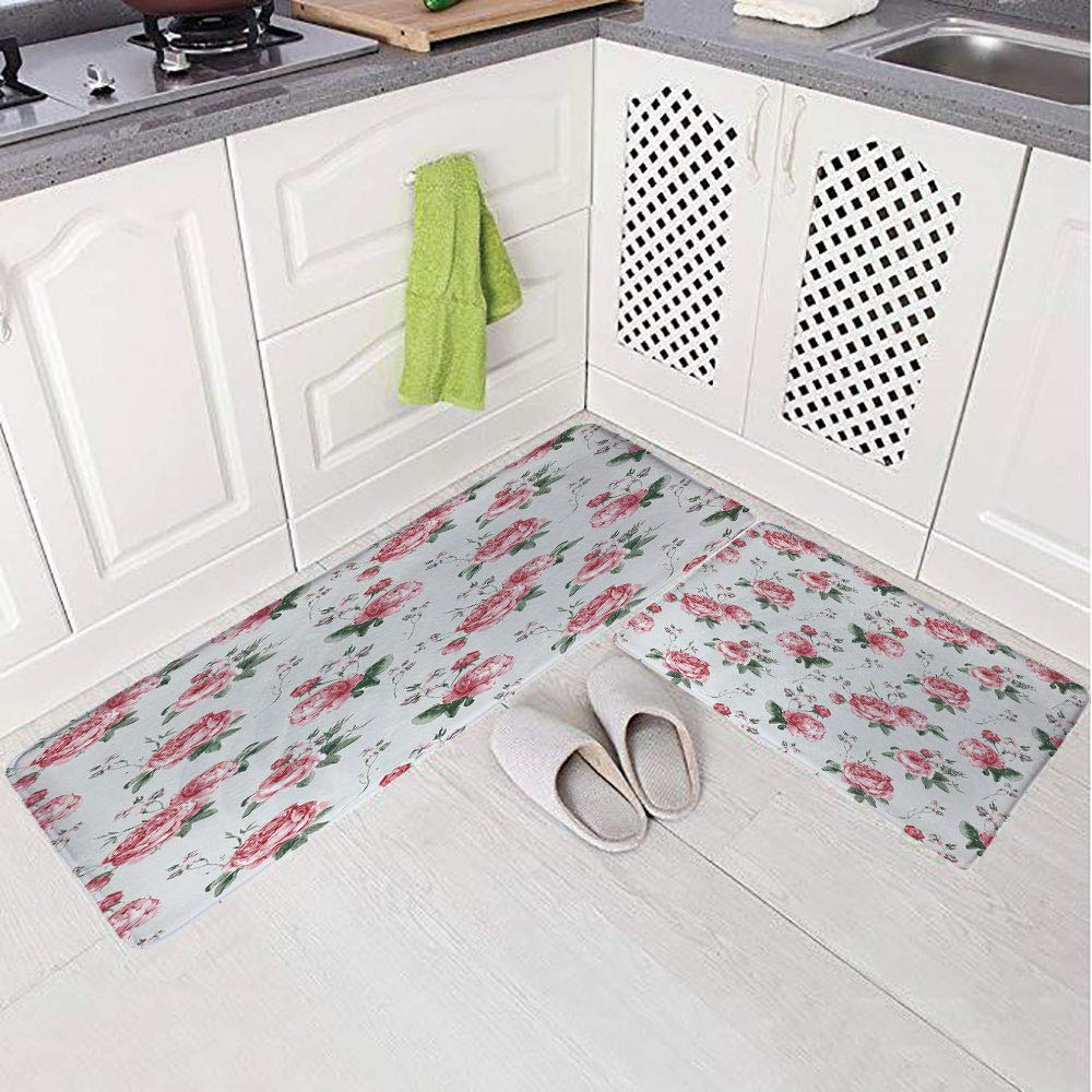 2 Piece Non-Slip Kitchen Mat Rug Set Doormat 3D Print,Watercolor Painting Style Garden Shabby Chic Wild,Bedroom Living Room Coffee Table Household Skin Care Carpet Window Mat,