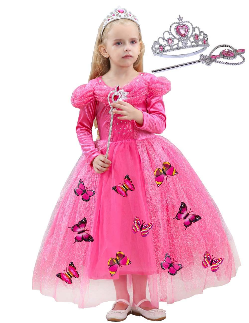 JYH Girls' New Cinderella Princess Long Sleeve Dress Butterfly Party Costumes with Crown(Watermelon red,5T-6T)
