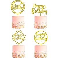 4 Pack Happy Birthday Cake Topper, Acrylic Cake Topper Birthday Cupcake Toppers, A Series of Gold Cake Topper Birthday…