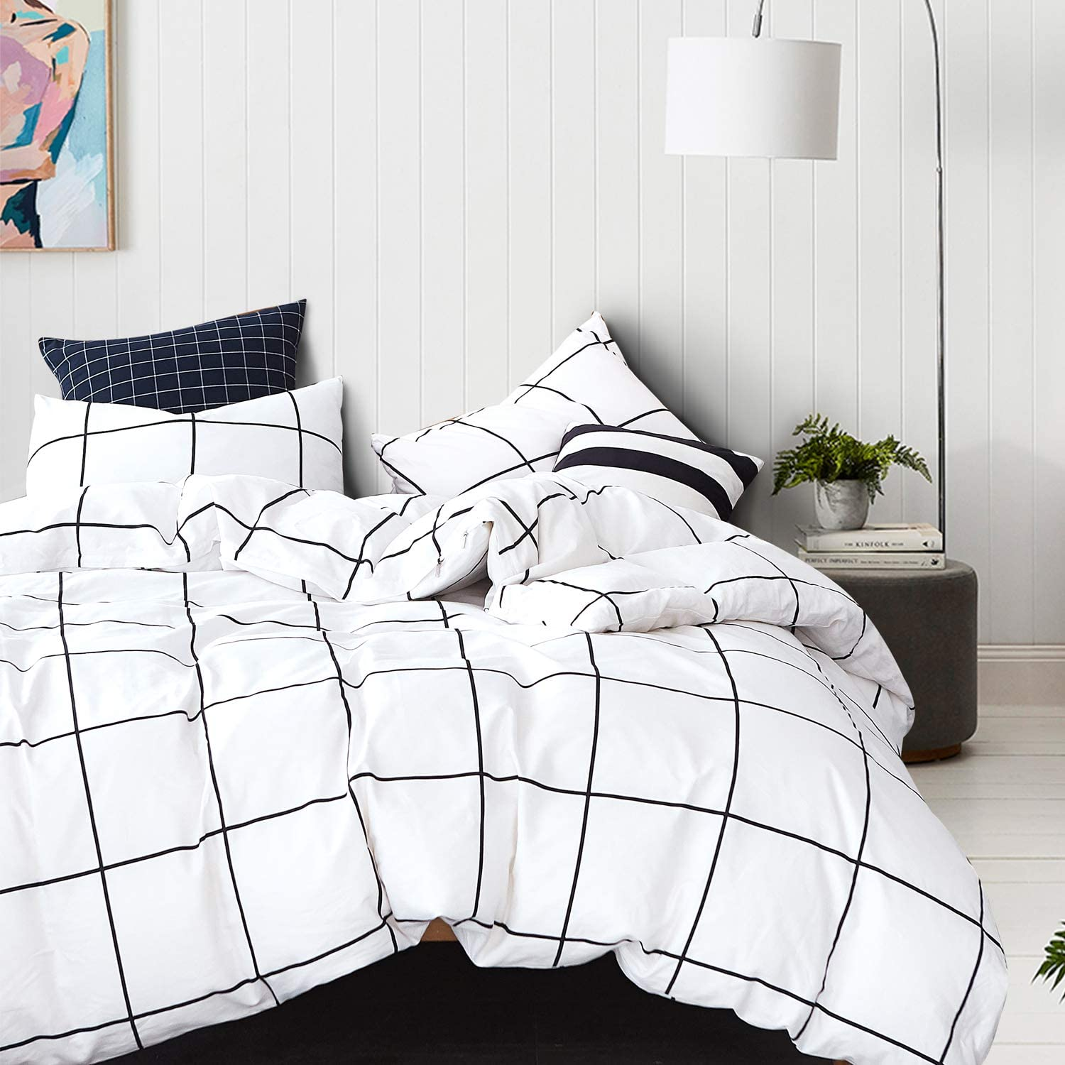 Wellboo White Grid Duvet Cover Cotton Plaid Grid Bedding Sets QueenFull Checkered Adult Women Covers Large Square Reversible Duvet Black and White Geometric Modern Lines Duvet Cover No Insert