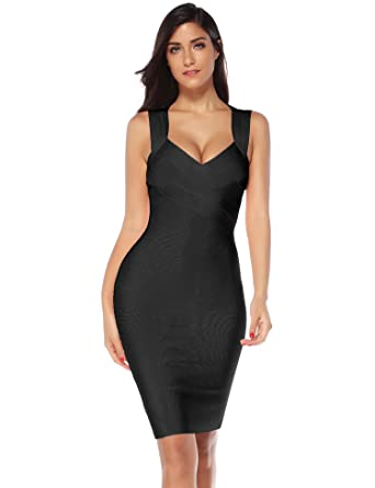 35e95fcc3 Amazon.com  Meilun Women s V-Neck Strapless Clubwear Bodycon Bandage ...