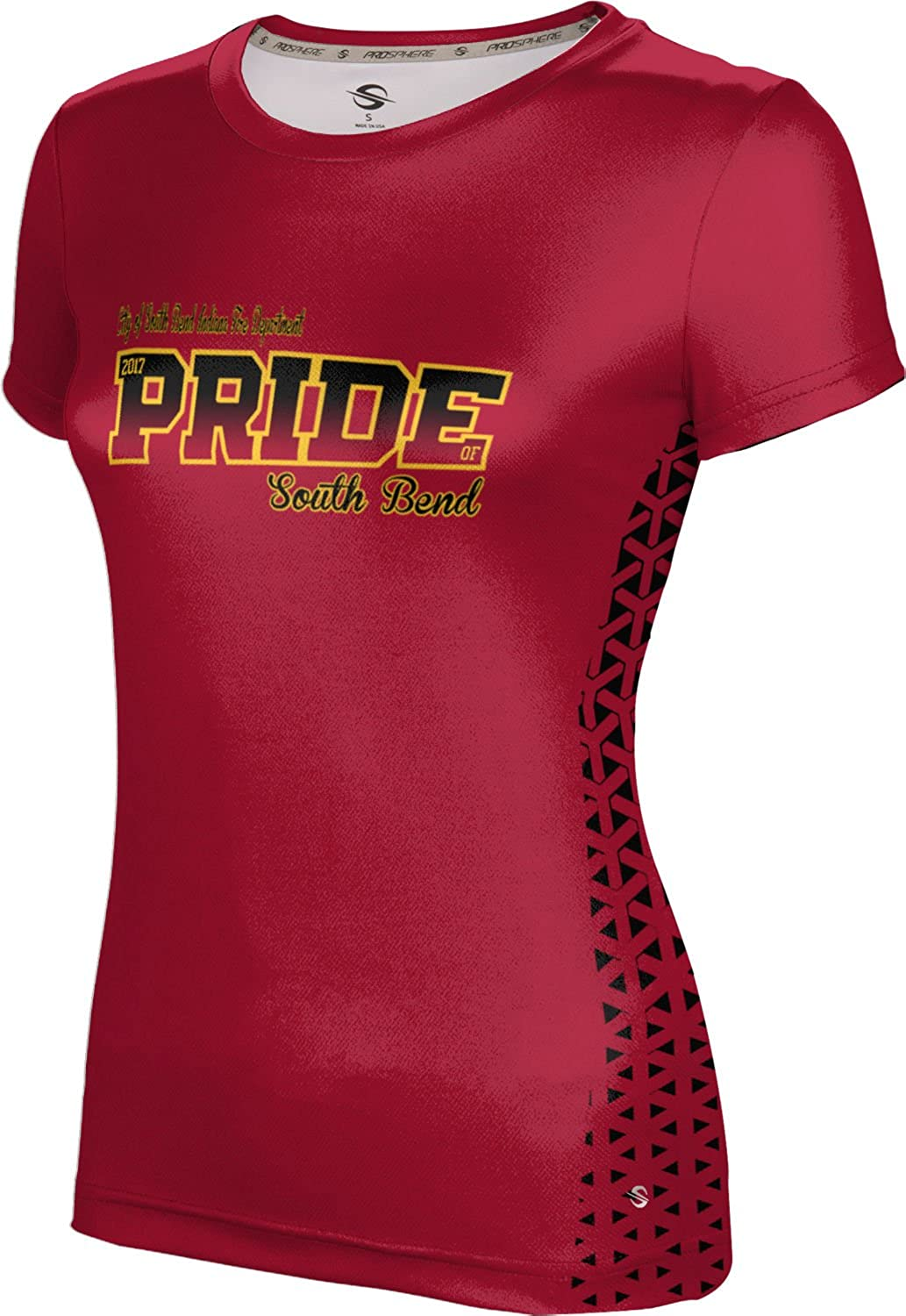 Women's City of South Bend Indiana Fire Department Gov-Fire-Police Geometric Tech Tee