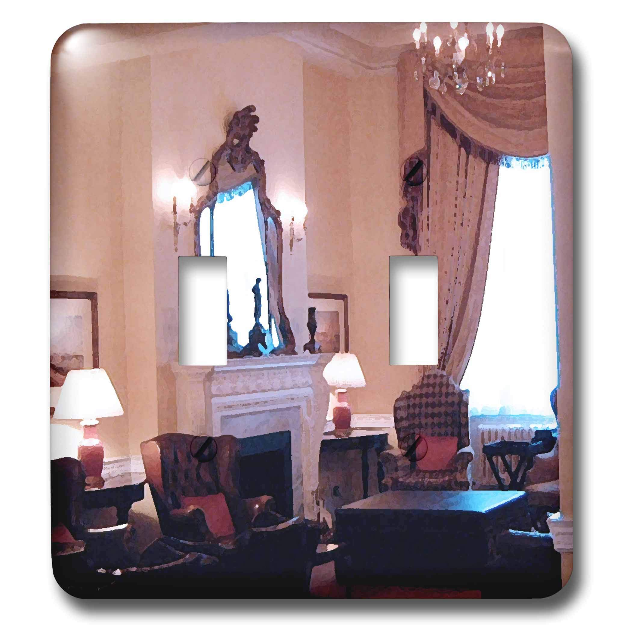 3dRose Jos Fauxtographee- London Hotel - The inside of a London Hotel with chairs and a chandelier - Light Switch Covers - double toggle switch (lsp_291337_2)