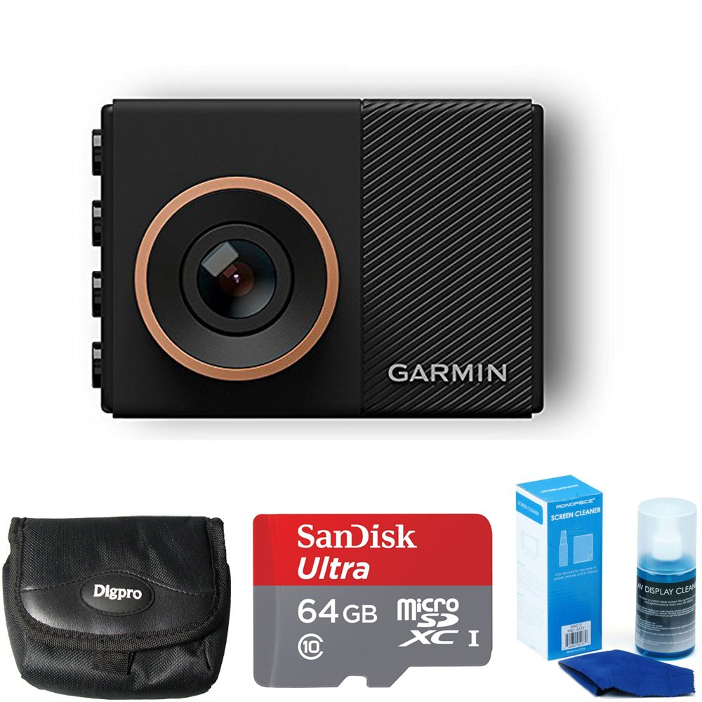 Garmin Dash Cam 55 Bundle with 64GB Ultra MicroSDXC UHS-I Memory Card, Universal Screen Cleaning, and Ultra-Compact Carrying Case by Garmin