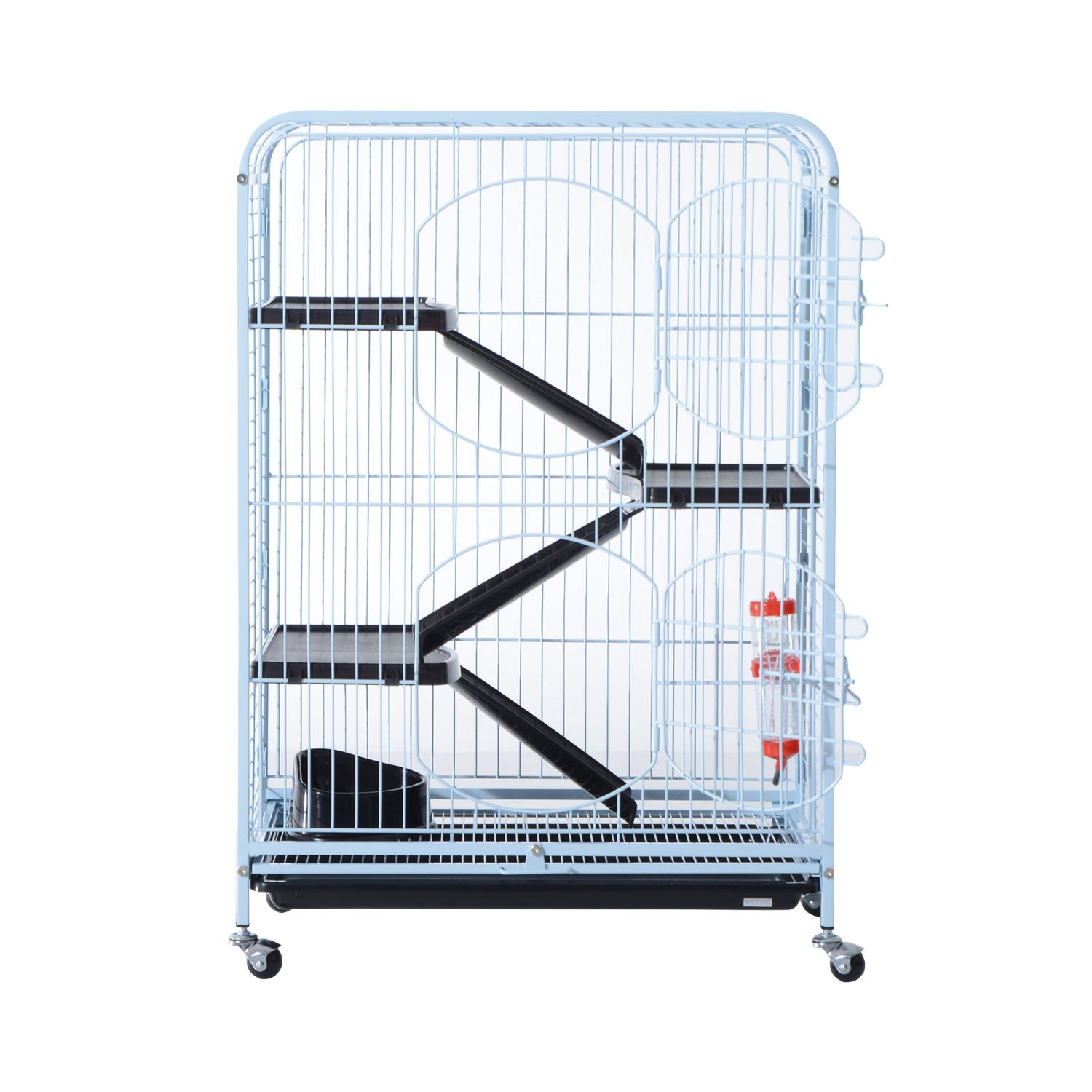 PawHut 37'' 4 Level Indoor Portable Pet Habitat Small Animal Cage Kit With Plastic Shelves And Ramps - White by PawHut (Image #3)