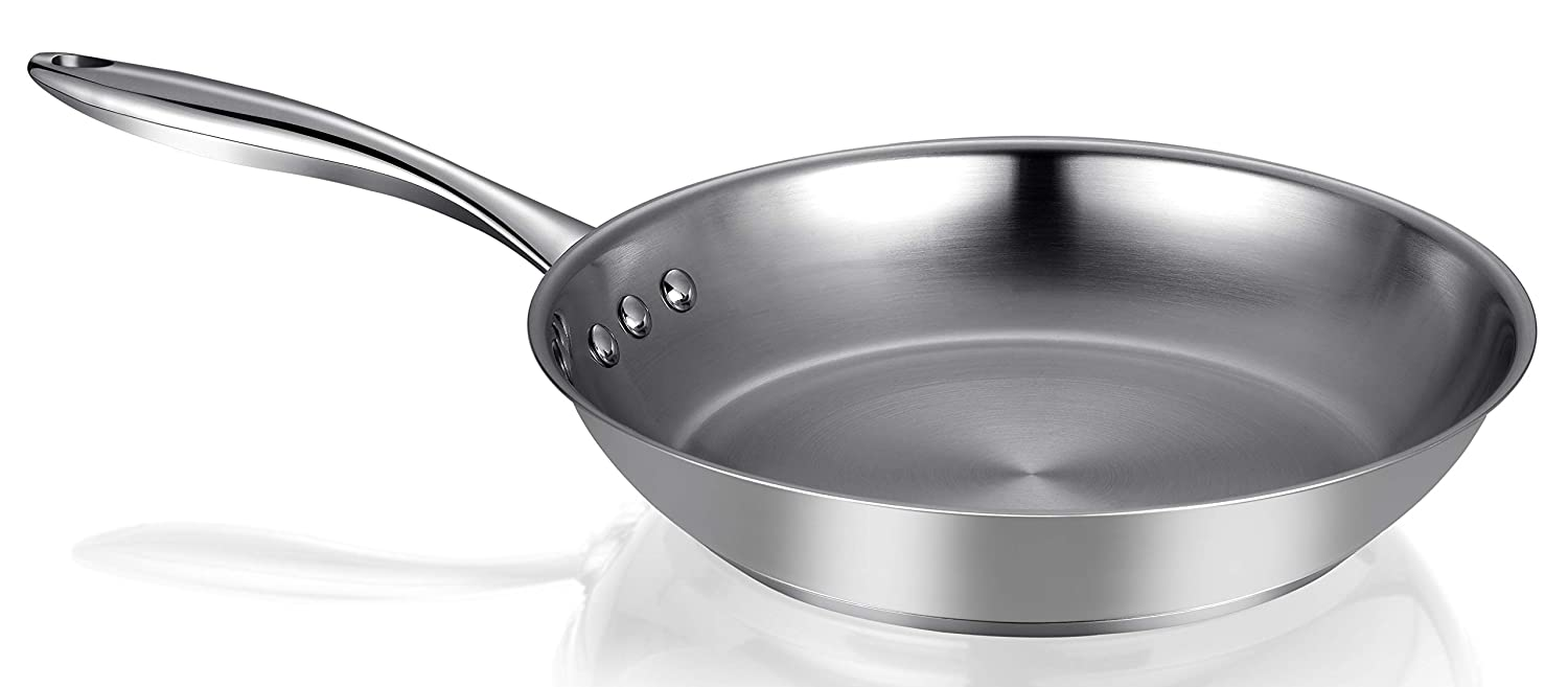 "Ozeri ZP4-30UC 12"" Steel Earth Pan 100% PTFE-Free Restaurant Edition, Stainless Interior"