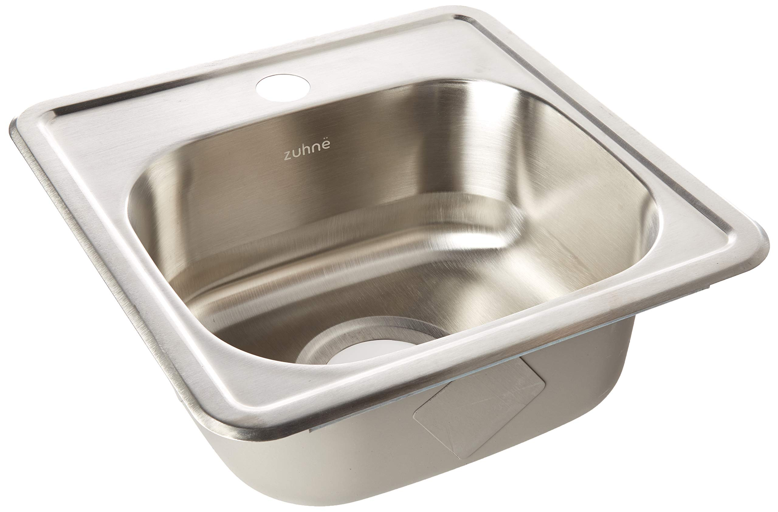 ZUHNE Drop-In Top Mount or Over Mount One Deck Hole Single and Double Bowl Stainless Steel Kitchen Sink (15x15 Single) by Zuhne (Image #1)