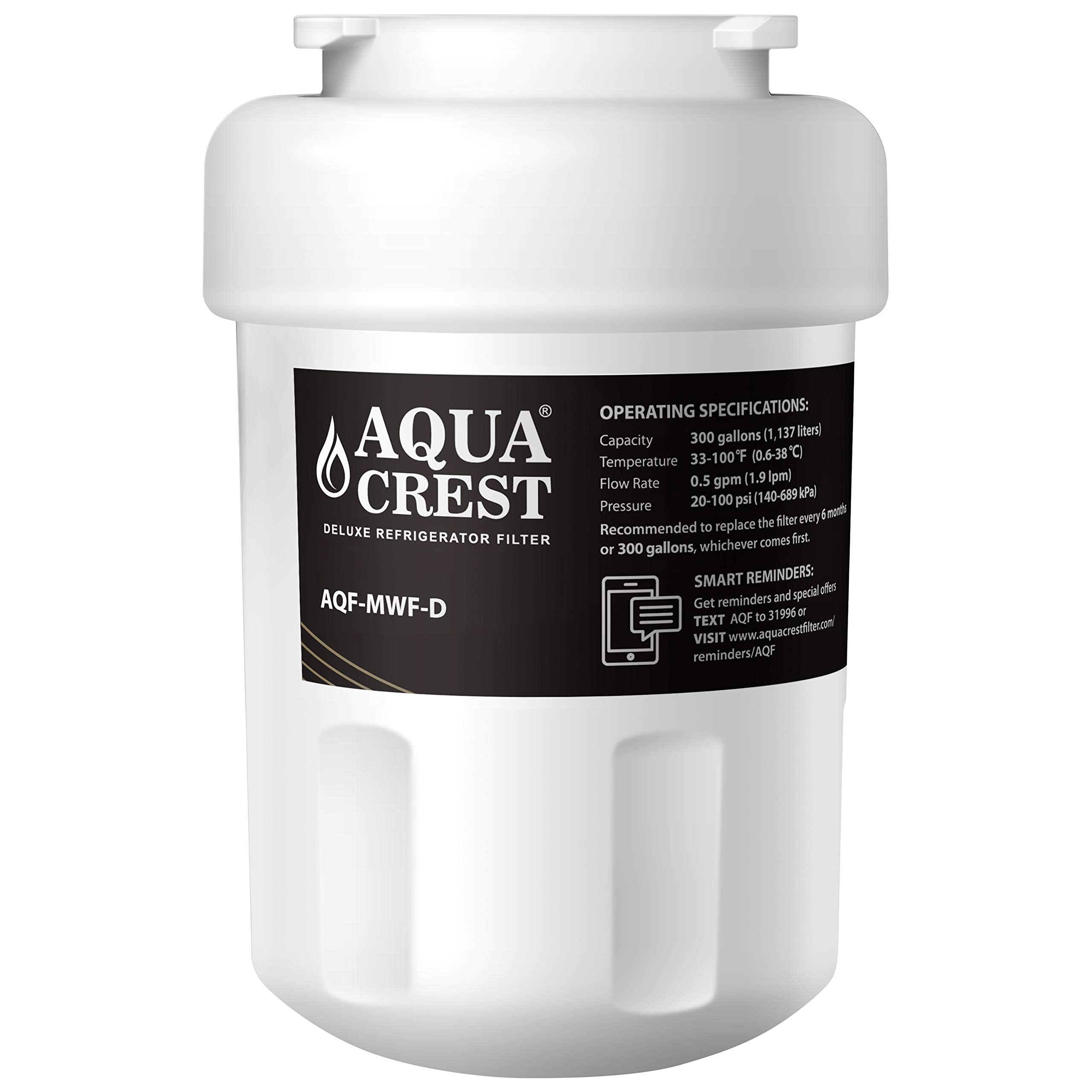 AQUA CREST MWF NSF 401,53&42 Replacement Refrigerator Water Filter, Compatible with GE MWF SmartWater, MWFA, MWFP, GWF, GWFA, Kenmore 46-9991, 9991