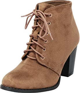 e4210159ef8 Cambridge Select Women s Lace-up Chunky Stacked Block Heel Ankle Bootie