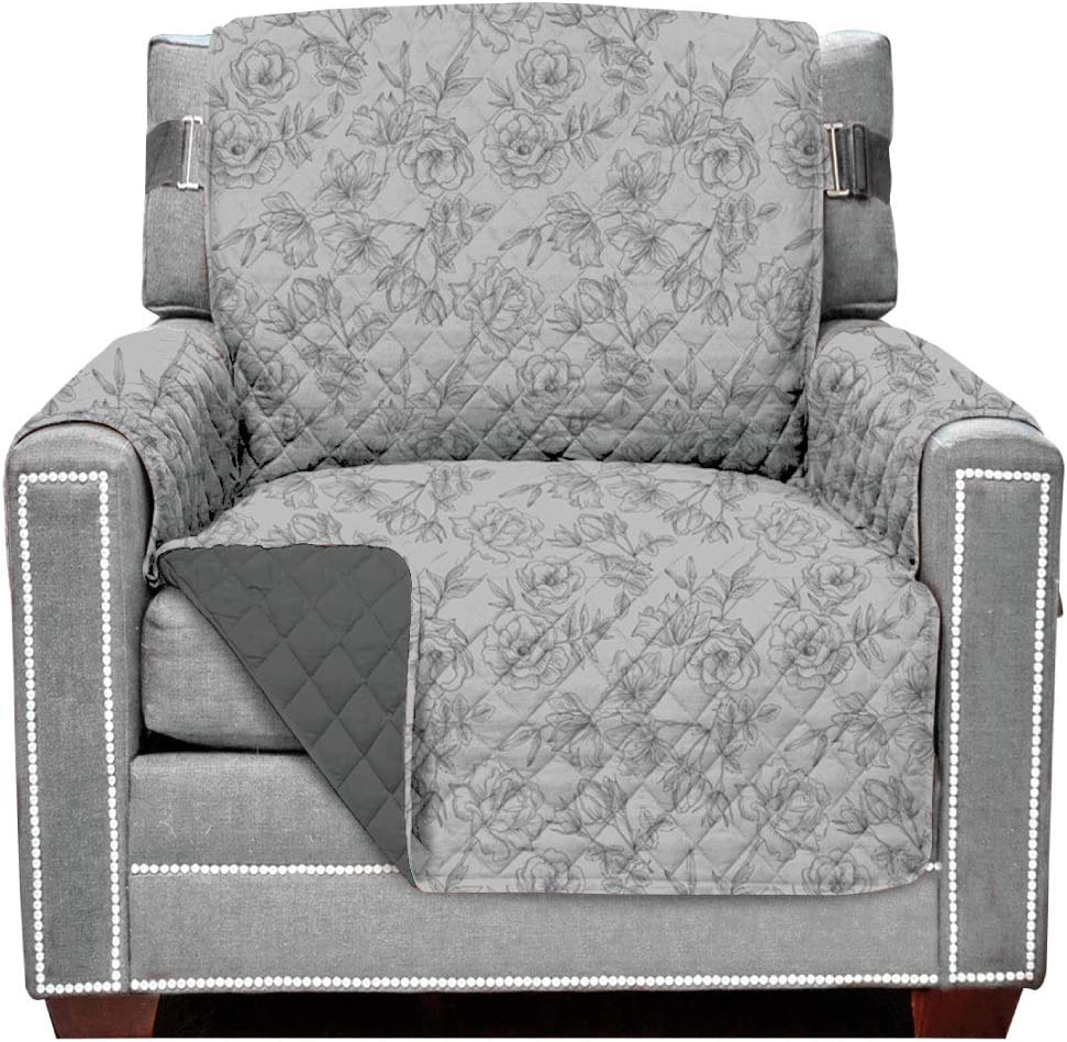Sofa Shield Original Patent Pending Chair Slipcover, Many Colors, Seat Width to 23 Inch, Reversible Furniture Protector with Straps, Chairs Slip Cover, Armchair, Vintage Floral Light Gray Charcoal