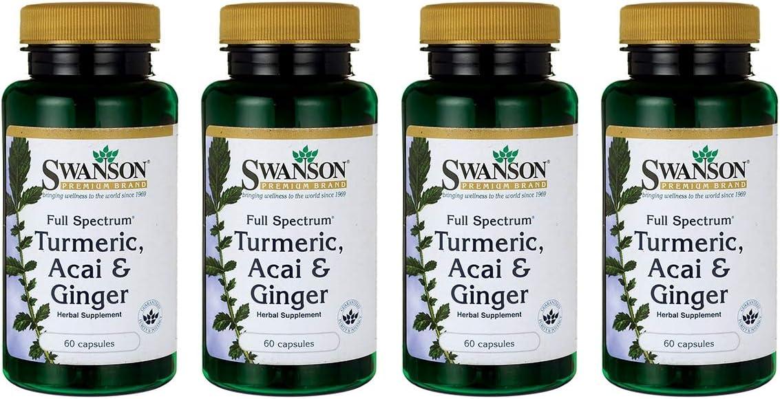 Swanson Full Spectrum Turmeric Acai Ginger 60 Capsules 4 Pack