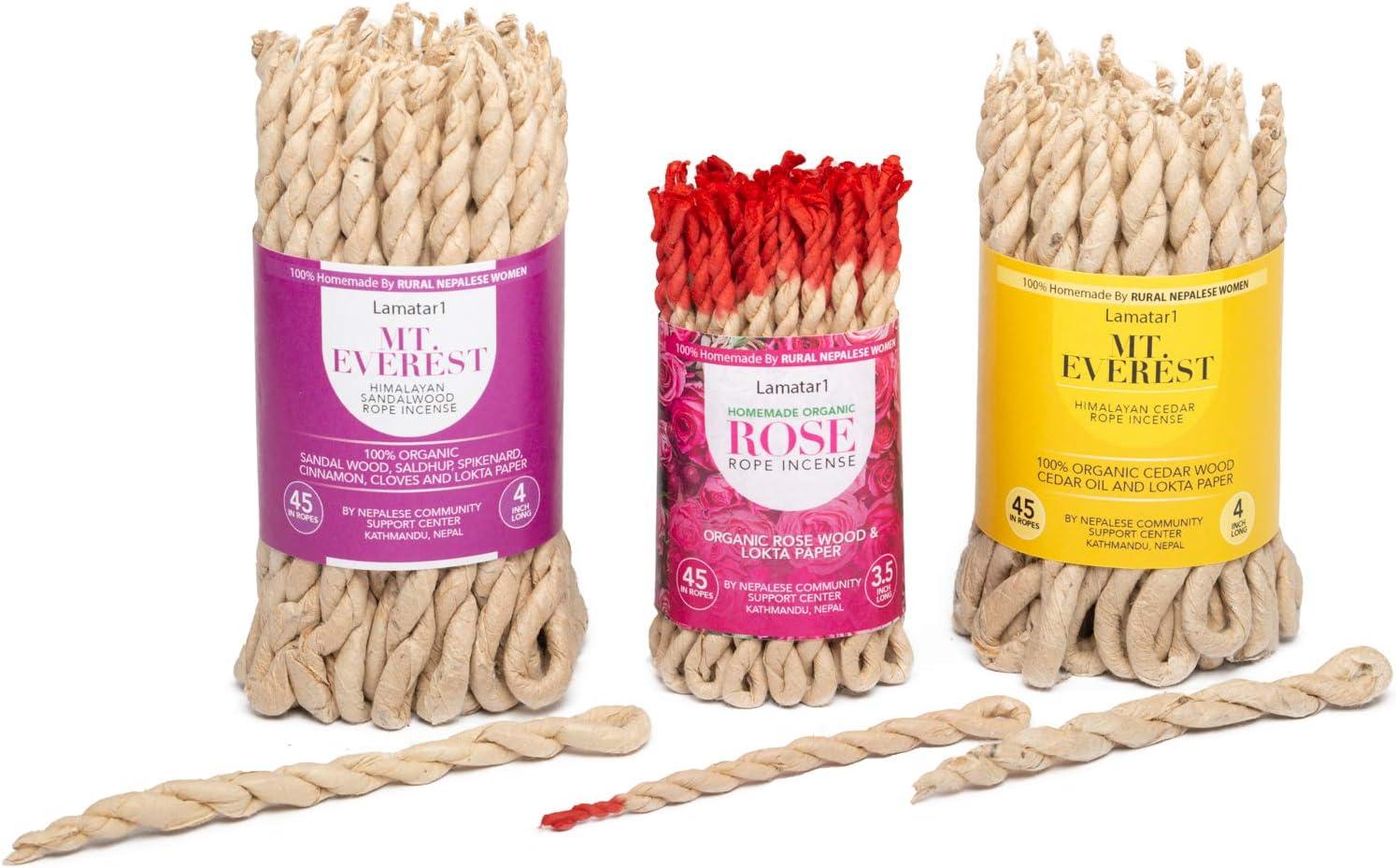 Aromatherapy Set of 3 Tibetan Home Made Rose Rope Incense, Himalayan Cedar, Sandalwood, 100 % Handmade by Rural Nepali Women (Himalayan Cedar, Sandalwood and Rose)