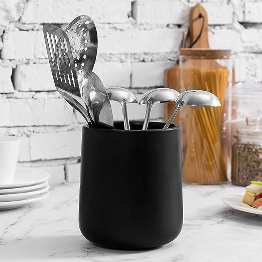 MyGift 6 Inch Matte Black Ceramic Kitchen Crock Cookware Utensil Holder