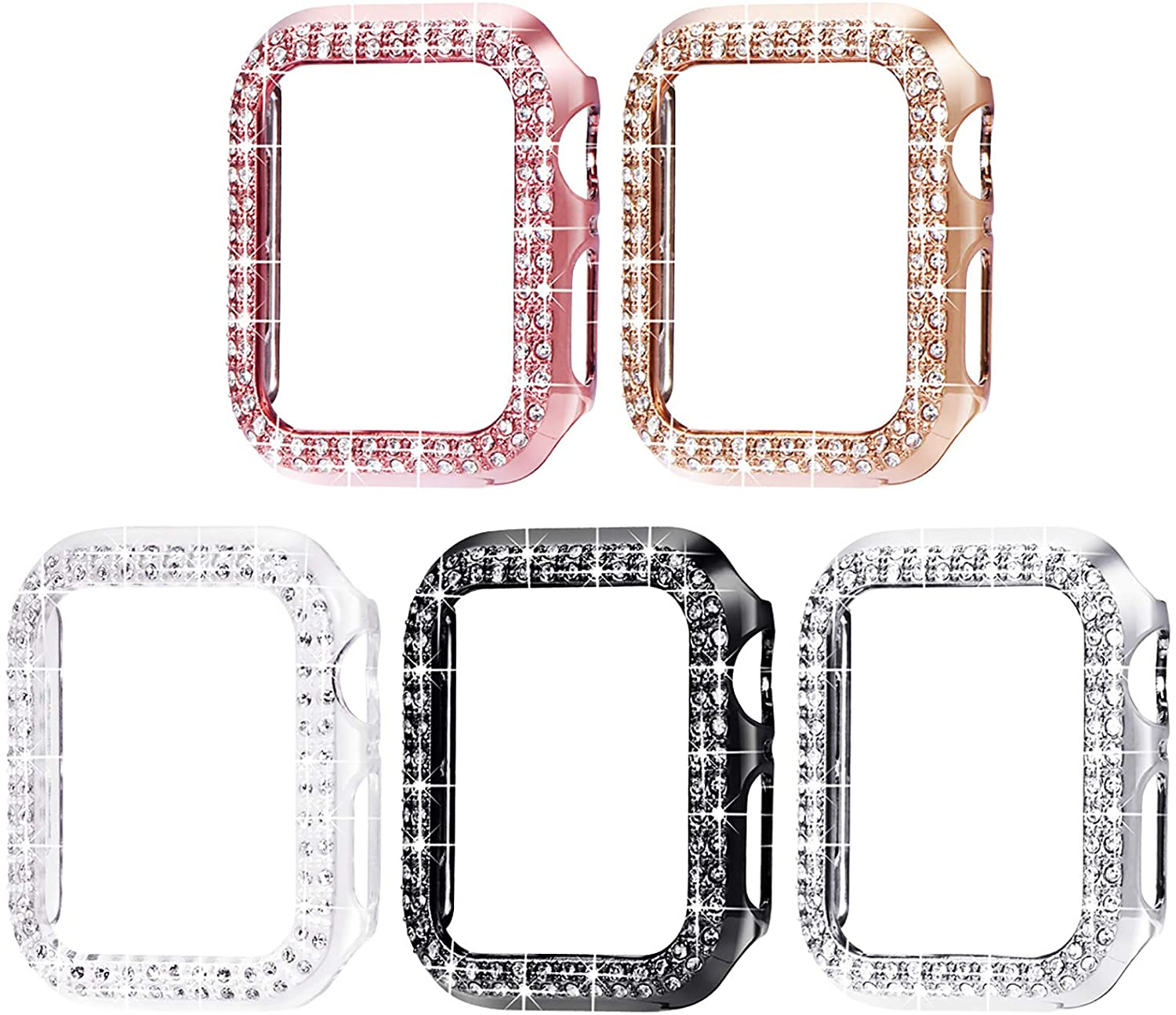 Surace 44mm Case Compatible with Apple Watch Case, Bling Frame Protective Case Screen Protector Replacement for Apple Watch Series 6/5/4 44mm (5 Packs, Rose Gold/Pink Gold/Black/Silver/Clear-44mm