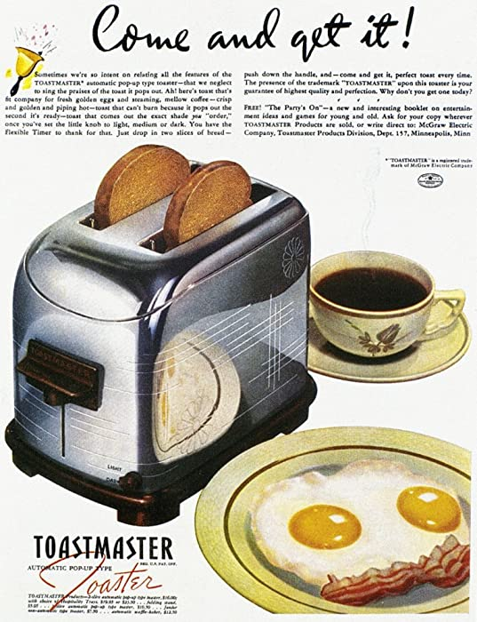 Toaster Ad 1938 Namerican Advertisement 1938 For The Toastmaster Automatic Pop-Up Toaster Poster Print by (24 x 36)
