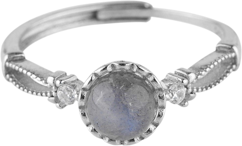 Rivertree - Anillo redondo de piedra lunar de plata de ley 925, tamaño ajustable para mujeres, niñas y niños